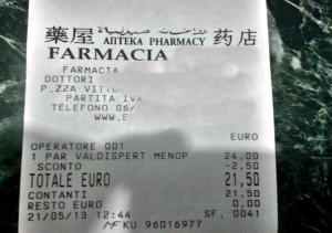 scontrino farmacia